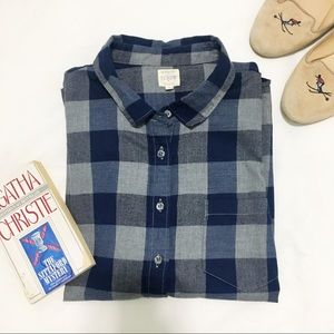 J. Crew | Navy and Gray Plaid Flannel Shirt